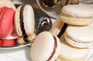 Coconut, dark chocolate and lime, earl grey, white chocolate and honey, rose water macarons from The Real Macaron Company..