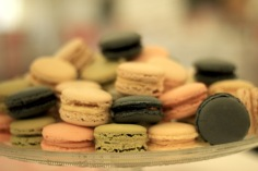Selection of macarons at wedding reception