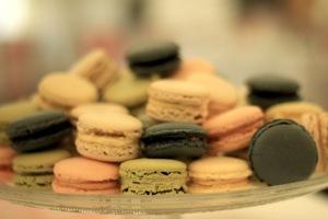 Selection of macarons at wedding reception