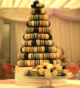 Tower of multi coloured macarons for spring wedding