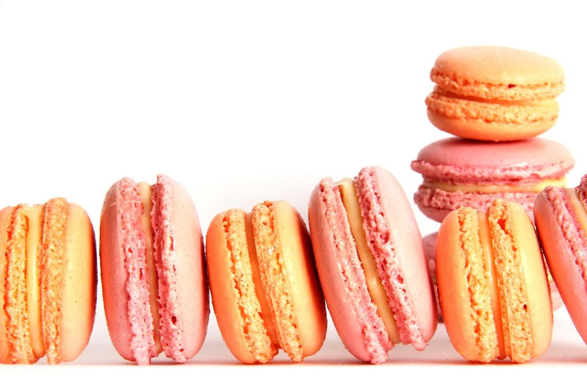 Pink and peach coloured macarons