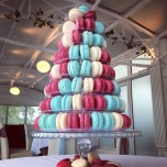 Pale blue, claret and white macarons