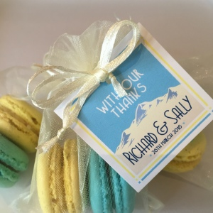 pale yellow and turquoise blue macarons in organza bag