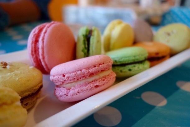 Plate of coloured macarons