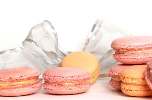 Raspberry cream and apricot cream macarons