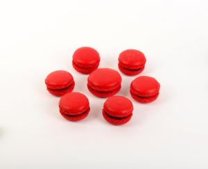 Bright red macarons for Christmas