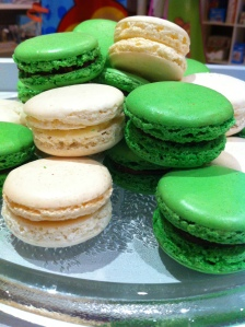 Green and white macarons